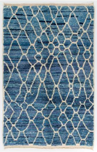 Air Force Blue color MOROCCAN Berber Beni Ourain Design Rug with Beige patterns and shades of Royal Blue and Light Blue, HANDMADE, 100% Wool