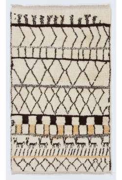 Bej renkli, Kahverengi Desenli doğal yün FAS Tasarımı % 100 yün el yapımı halı
