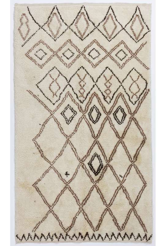Beige MOROCCAN Berber Beni Ourain Design Rug with Brown patterns, HANDMADE, 100% Wool