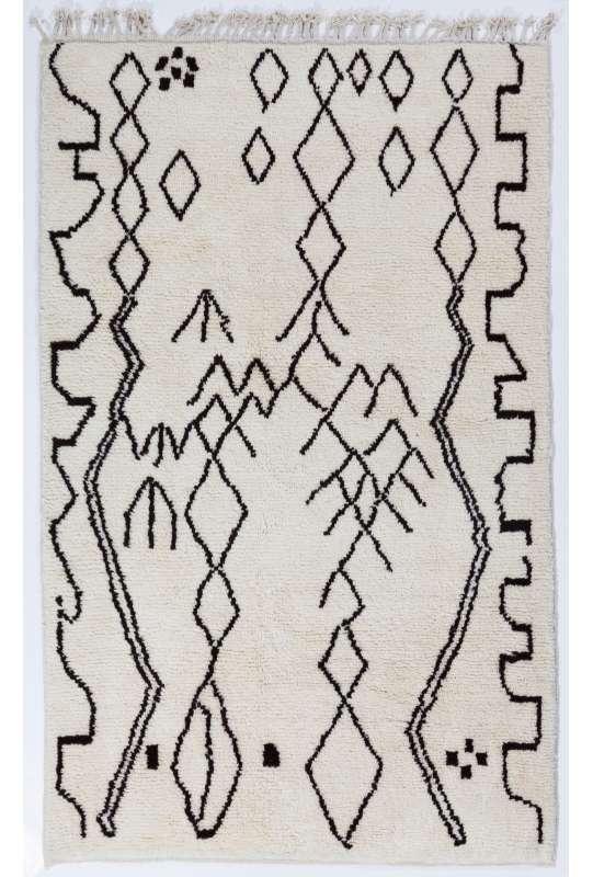 Beige color MOROCCAN Berber Beni Ourain Design Rug with Black Irregular patterns, HANDMADE, 100% Wool