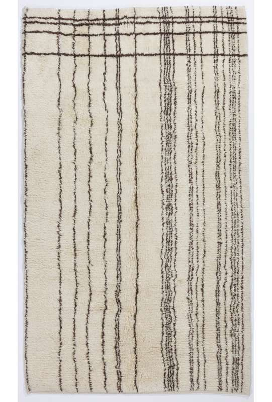 Ivory color MOROCCAN Berber Beni Ourain Design Rug with Brown lines, HANDMADE, 100% Wool