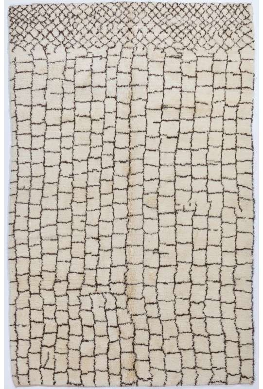 Ivory color MOROCCAN Berber Beni Ourain Design Rug with Brown Square patterns, HANDMADE, 100% Wool