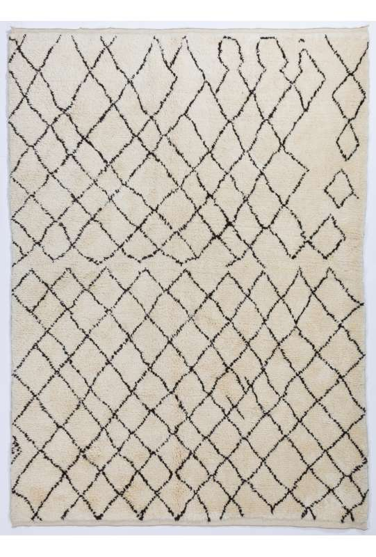 Ivory color MOROCCAN Berber Beni Ourain Design Rug with Brown Diamond patterns, HANDMADE, 100% Wool