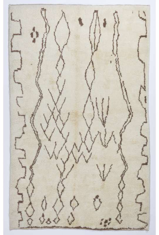 Ivory color MOROCCAN Berber Beni Ourain Design Rug with Brown Patterns, HANDMADE, 100% Wool