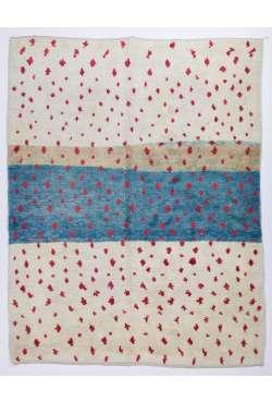 Fildişi & Kırmızı ve Turkuaz Mavi FAS Tasarımı % 100 yün ,el yapımı halı