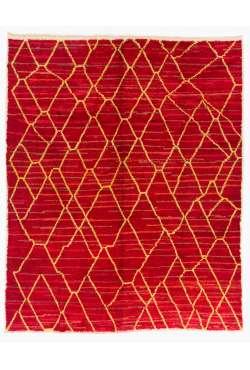 Red Color Moroccan Berber Beni Ourain Design Rug, Handmade of 100% Fine Handspun Wool