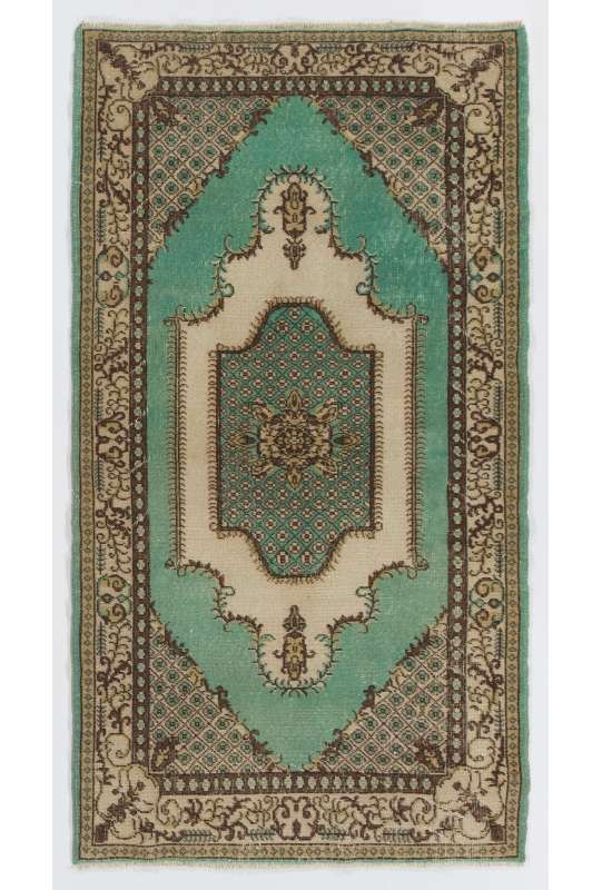"3'10"" x 6'10"" (117 x 210 cm) Turkish Sun Faded Rug, Green, Brown & Beige"
