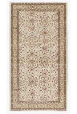 "Antique Washed Rug 3'8"" x 6'9"" (112 x 207 cm) Turkish Handmade Vintage Rug, Beige Antique Washed Rug"