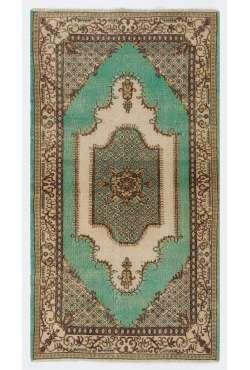 "3'9"" x 6'11"" (116 x 213 cm) Turkish Sun Faded Rug, Green, Brown & Beige"