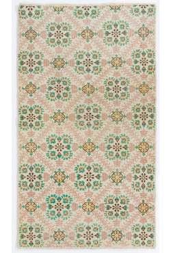 """4' x 6'10"""" (120 x 210 cm) Turkish Handmade Rug, Beige with Floral Patterns"""