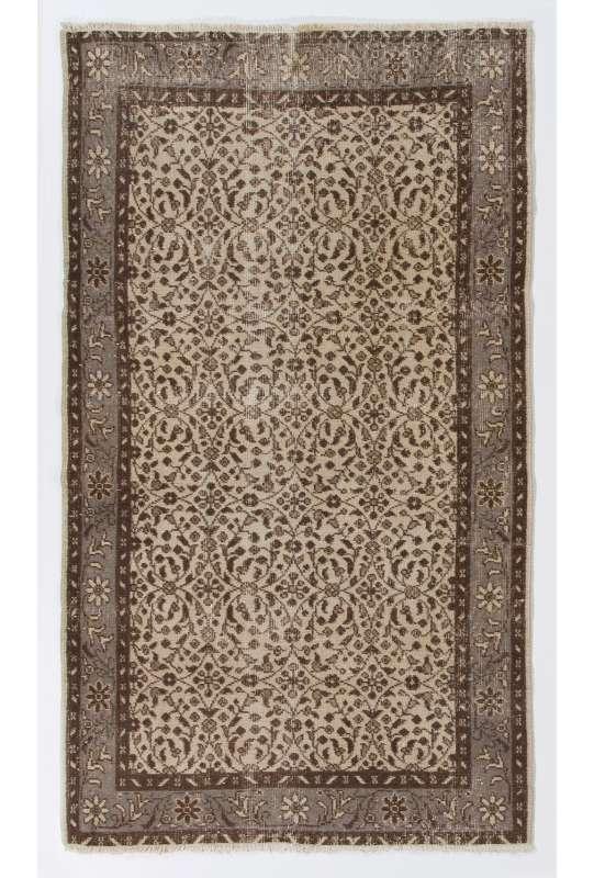 """4' x 6'8"""" (116 x 205 cm) Turkish Antique Washed  Rug, Beige, Brown & Gray"""