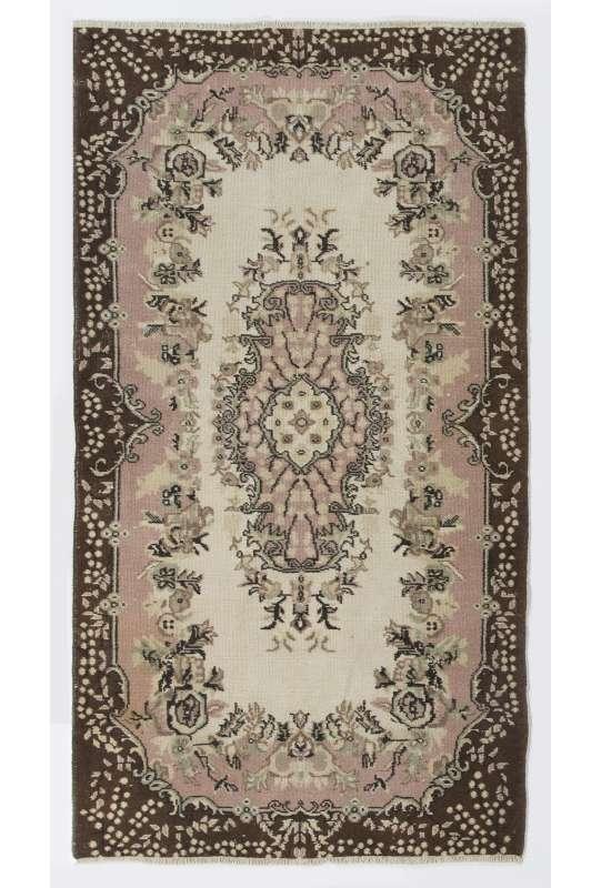 """4' x 7'4"""" (117 x 215 cm) Turkish Antique Washed  Rug, Beige, Pink & Brown"""
