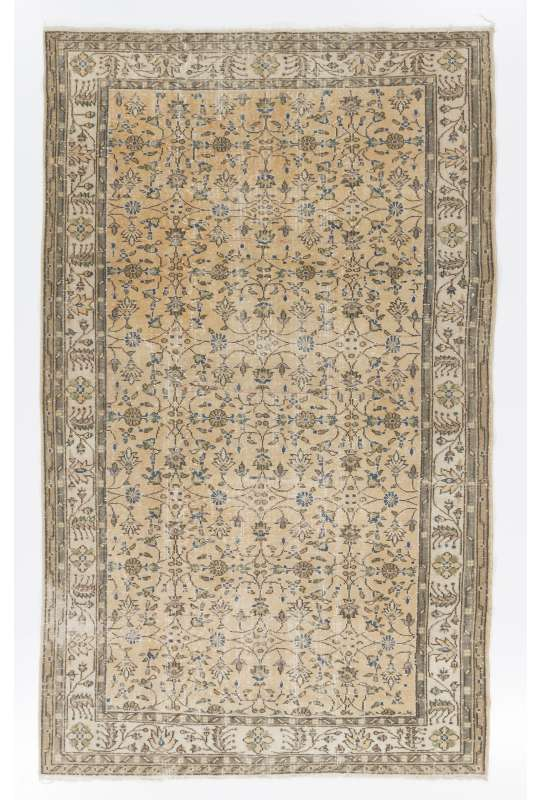 "5'8"" x 9'2"" (173 x 281 cm) Turkish Antique Washed Rug, Beige, Peach Red & Gray"