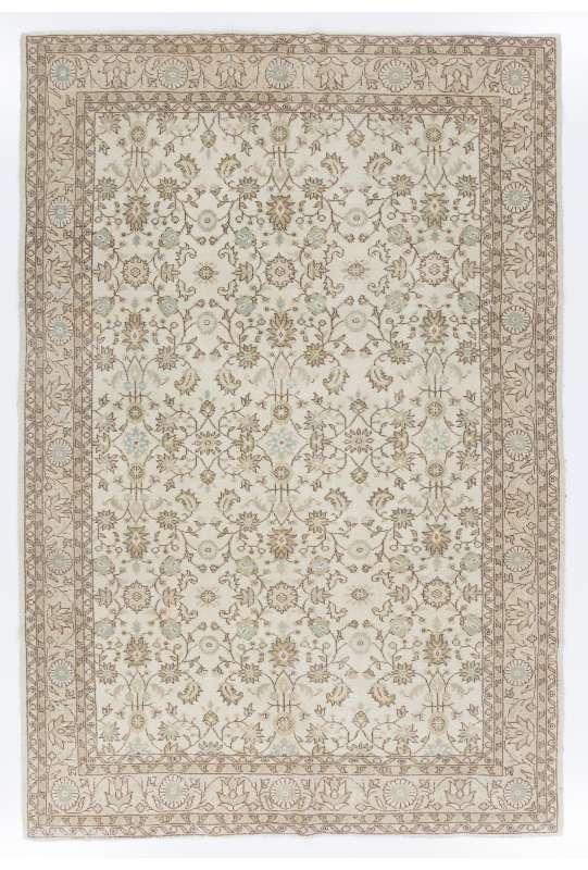 """6'7"""" x 9'7"""" (205 x 298 cm) Handmade Turkish Antique Washed Rug, Beige"""