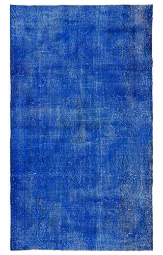 118 x 203 cm Safir Mavisi Eskitilmiş Overdyed Eldokuması Türk Halısı