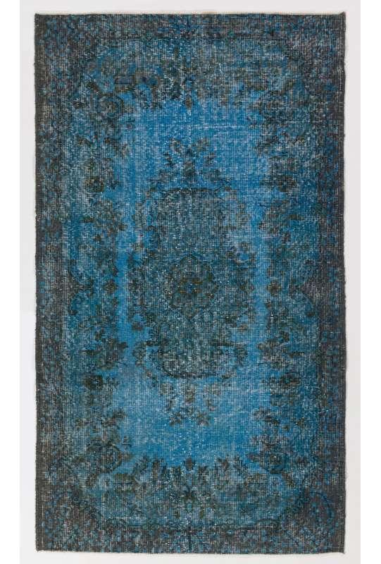 118x206 cm Çelik Mavisi Eskitilmiş Overdyed Eldokuması Türk Halısı