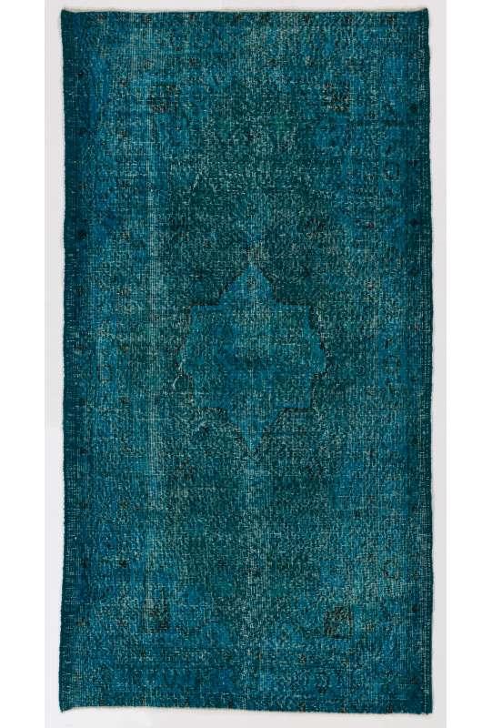 "3'9"" x 7' (115 x 218 cm) Turquoise & Teal Blue Color Vintage Overdyed Handmade Turkish Rug"