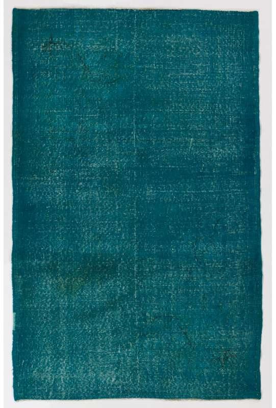 122 x 189 cm Turkuvaz Renkli Eskitilmiş Overdyed Eldokuması Türk Halısı
