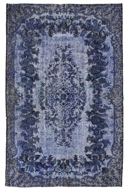 170 x 286 cm Purusya Mavisi Eskitilmiş Overdyed Eldokuması Türk Halısı