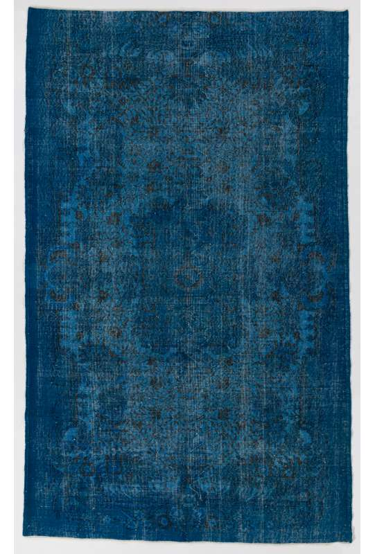 "5'6"" x 9'4"" (170 x 287 cm) Blue Color Vintage Overdyed Handmade Turkish Rug, Blue Overdyed Rug"