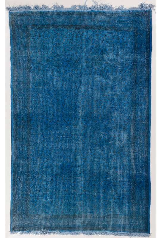 175 x 272 cm Mavi Renkli Eskitilmiş Overdyed Eldokuması Türk Halısı