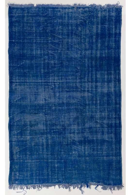 175 x 275 cm Mavi Renkli Eskitilmiş Overdyed Eldokuması Türk Halısı