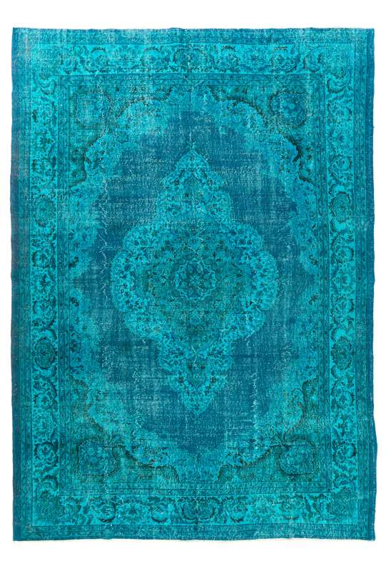 "Teal Blue Overdyed Rug 8'3"" x 11'8"" (255 x 360 cm) Turkish Handmade Vintage Rug, Overdyed Rug"