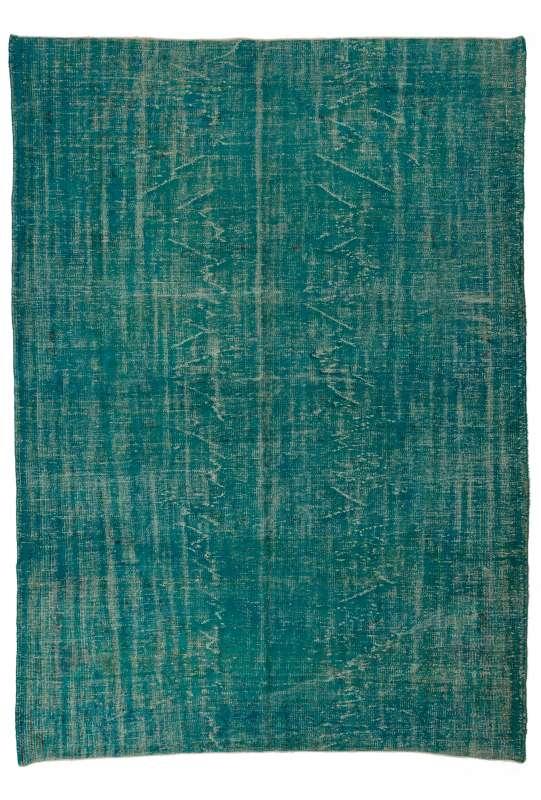 "6'9"" x 9'8"" (212 x 300 cm) Turquoise Blue Color Vintage Overdyed Handmade Turkish Rug"