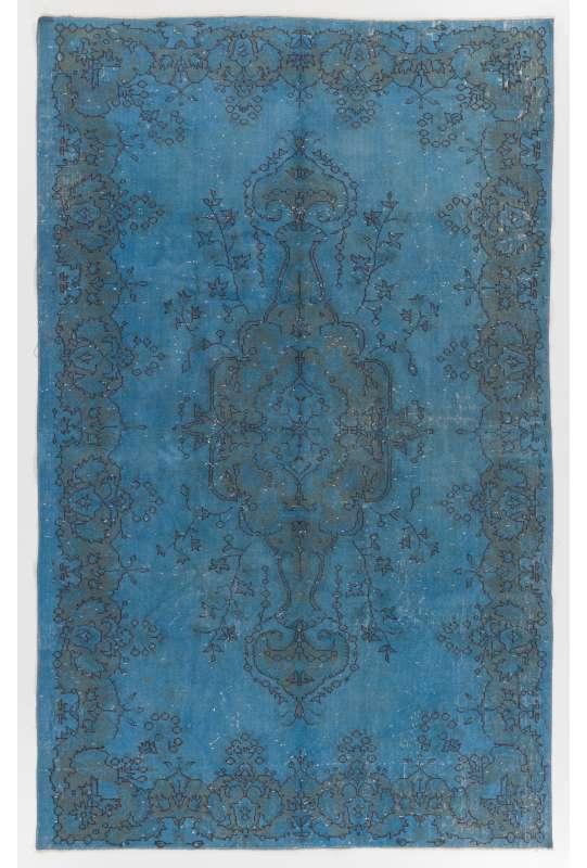"5'7"" x 9'3"" (176 x 284 cm) Denim Blue Color Vintage Overdyed Handmade Turkish Rug"