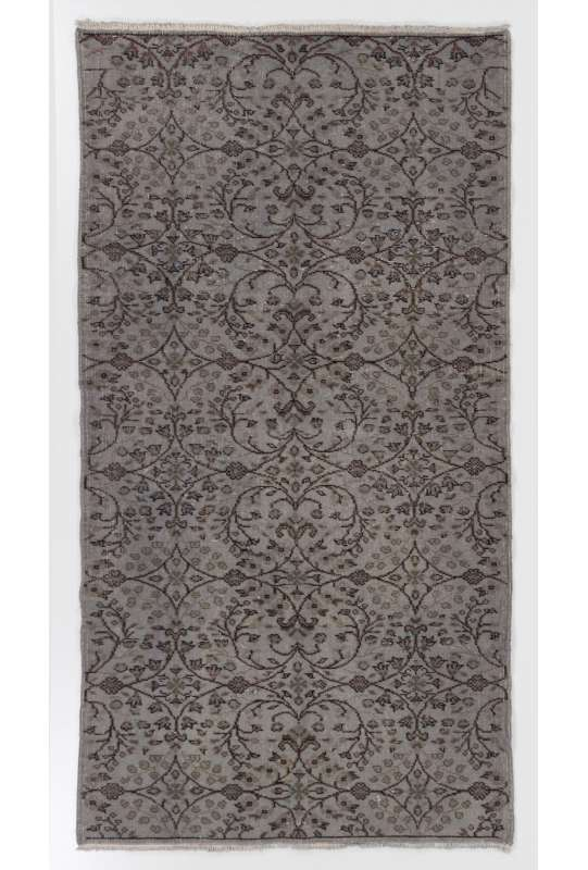 "3'10"" x 7'1"" (117 x 217 cm) Gray Color Vintage Overdyed Handmade Turkish Rug, Gray Overdyed Rug"