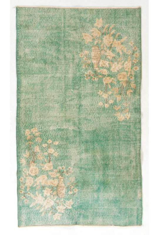 "Green Overdyed Rug 3'7"" x 6'6"" (115 x 204 cm) Handmade Vintage Turkish Rug, Green Overdyed Rug with Floral Patterns"