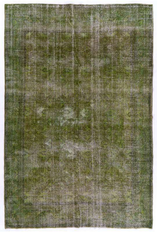 "Green Overdyed Rug 7'2"" x 10'7"" (220 x 325 cm) Turkish Handmade Vintage Rug, Green Handmade Overdyed Rug"