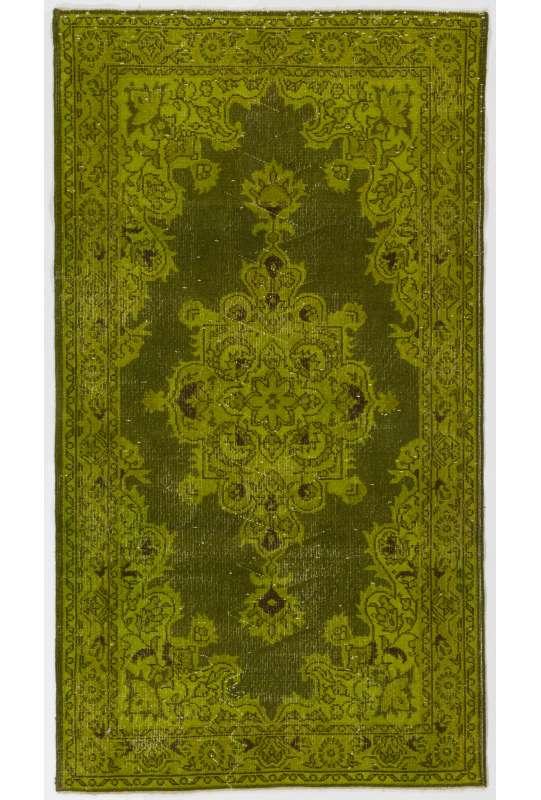 117 x 213 cm Zeytin Yeşili Eskitilmiş Overdyed Eldokuması Türk Halısı