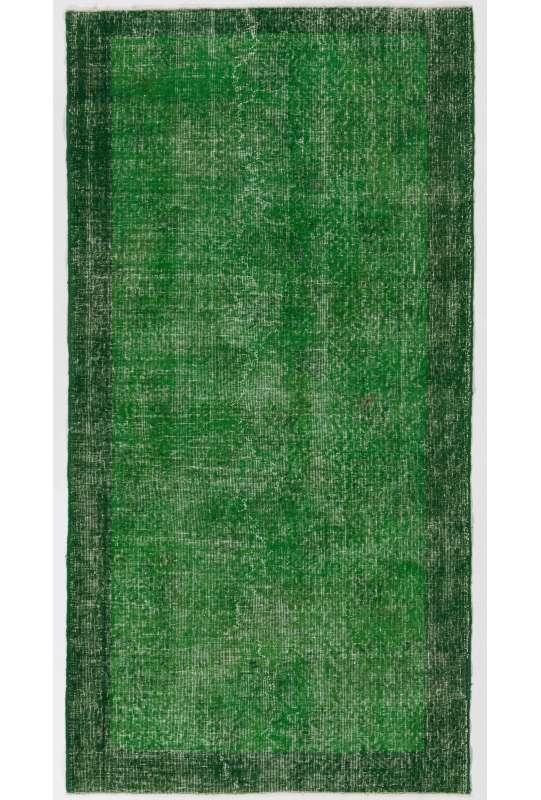 110 x 216 cm Orman Yeşili Eskitilmiş Overdyed Eldokuması Türk Halısı