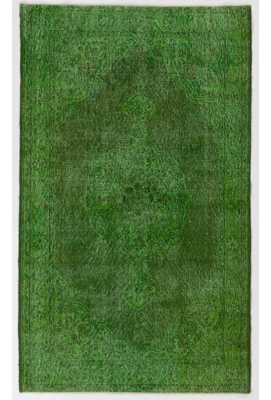 128 x 215 cm Yeşil Eskitilmiş Overdyed Eldokuması Türk Halısı