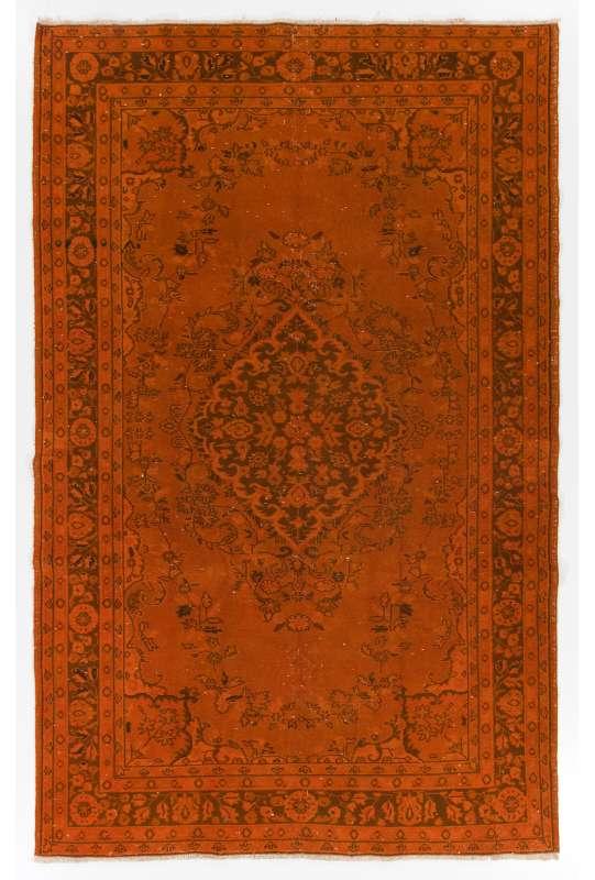 """5'10"""" x 9'2"""" (179 x 280 cm) Orange Color Vintage Overdyed Handmade Turkish Rug, Orange Overdyed Rug"""
