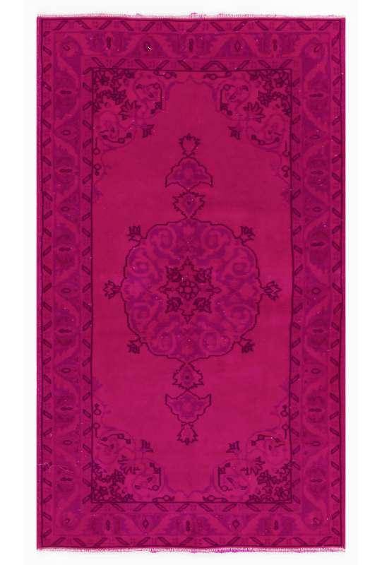 119 x 209 cm Pembe Renkli Eskitilmiş Overdyed Eldokuması Türk Halısı