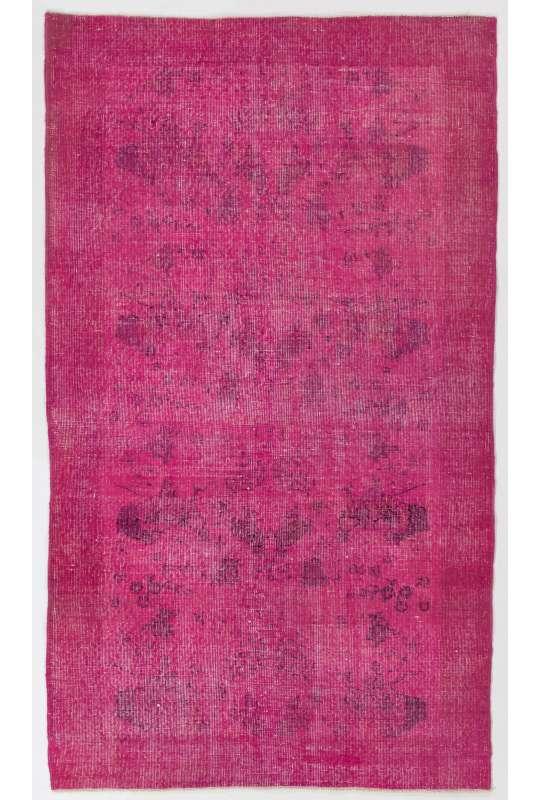122 x 213 cm Pembe Renkli Eskitilmiş Overdyed Eldokuması Türk Halısı