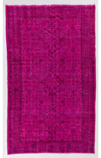 "5'5"" x 9' (166 x 276 cm) Pink Color Vintage Overdyed Handmade Turkish Rug, Pink Overdyed Rug"