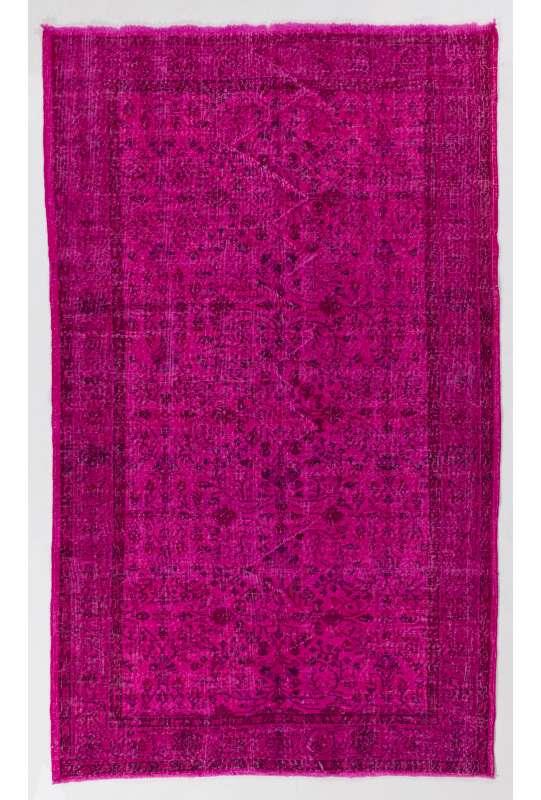 166 x 276 cm Pembe Renkli Eskitilmiş Overdyed Eldokuması Türk Halısı