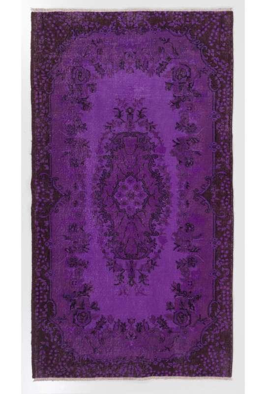 "3'10"" x 6'11"" (118 x 213 cm) Purple Color Vintage Overdyed Handmade Turkish Rug, Purple Overdyed Rug"