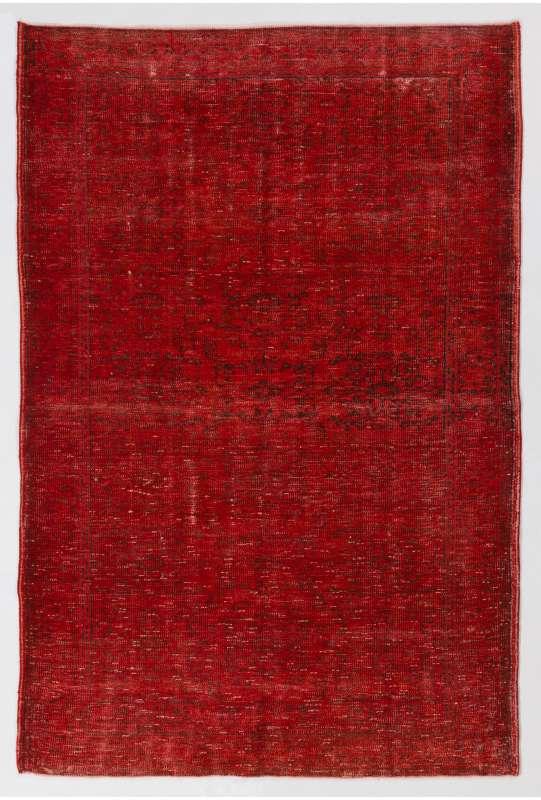156 x 240 cm Kırmızı Renkli Eskitilmiş Overdyed Eldokuması Türk Halısı