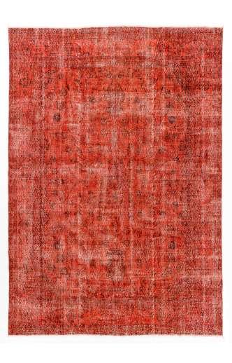 240 x340 cm Kırmızı Renkli Eskitilmiş Overdyed Eldokuması Türk Halısı
