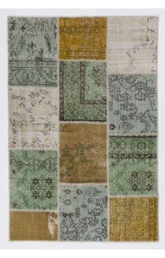 4' x 6' (122x183 cm)  Mustard Yelllow, Light Blue, Light Green and  Beige Color Patchwork Rug