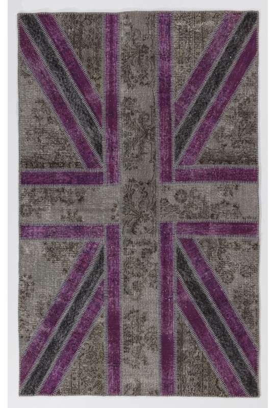 152x245 cm Gray and Purple Color Union Jack British FLAG Design Patchwork Rug