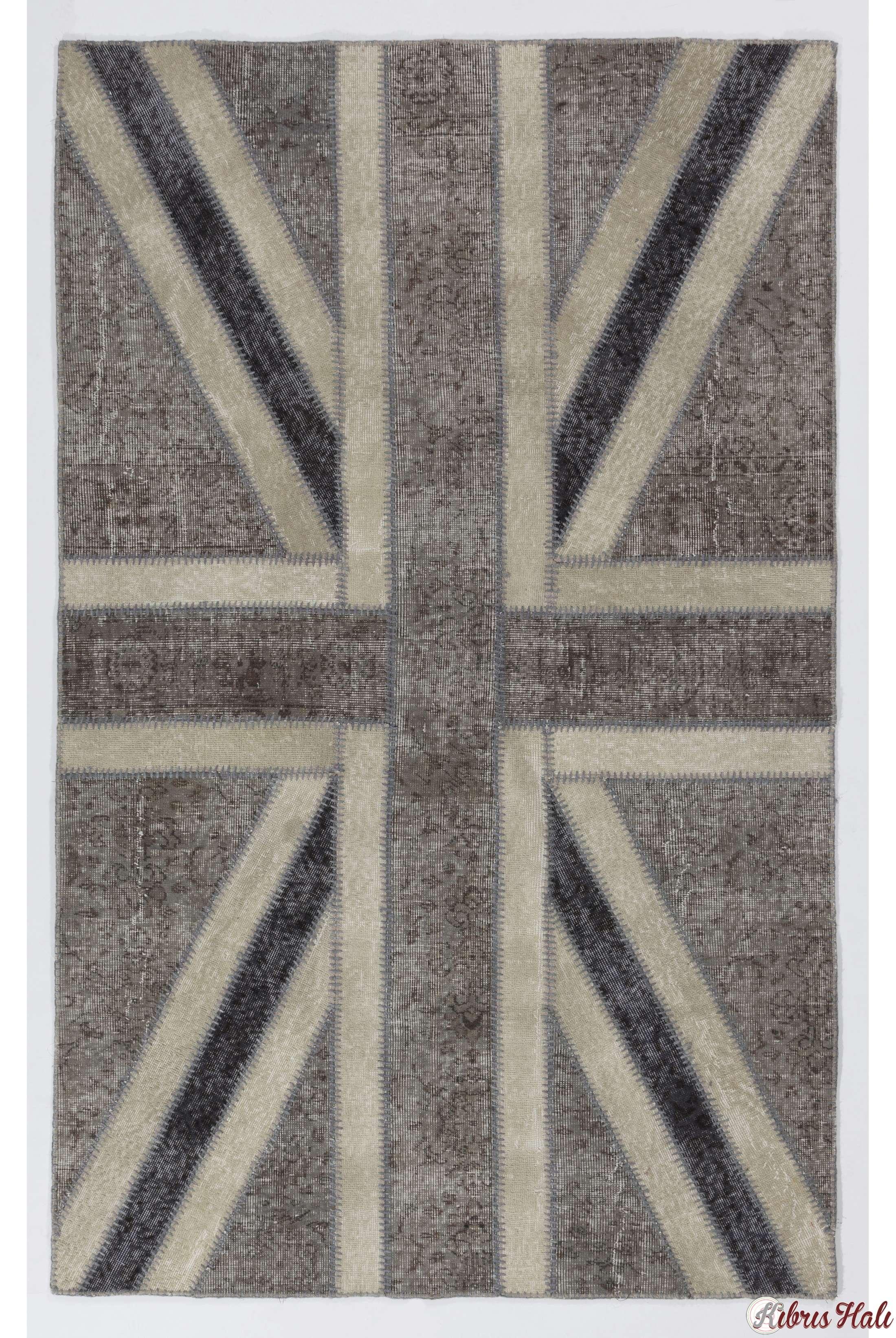 152x245 Cm Gri Amp Bej İngiliz Bayrağı Desenli Patchwork Halı