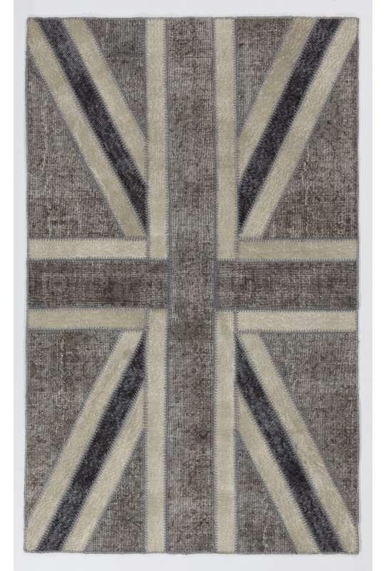 152x245 cm Gray & Beige British Flag Union Jack Design PATCHWORK Rug