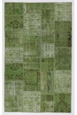 152x245 cm Yeşil Renk Patchwork Halı