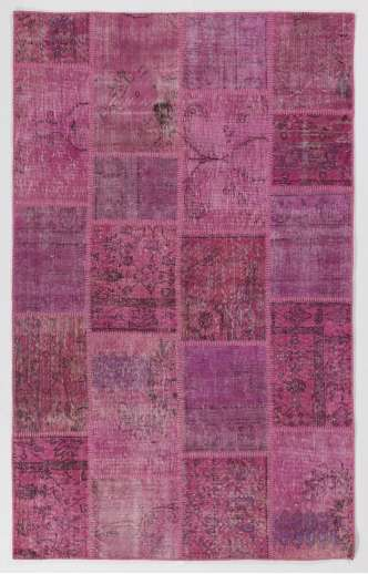 5' x 8' (152x245 cm) Light Pink PATCHWORK Rug Handmade from OVERDYED Distressed Vintage Turkish Rugs