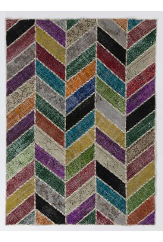 152x245 cm Herringbone Zig Zag Design Multicolor PATCHWORK Rug Handmade from OVERDYED Vintage Turkish Carpets
